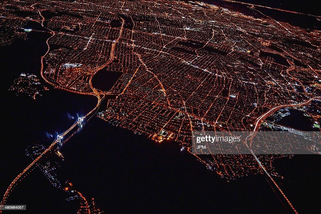 Aerial view of Miami at night, Florida, USA : Stock Photo