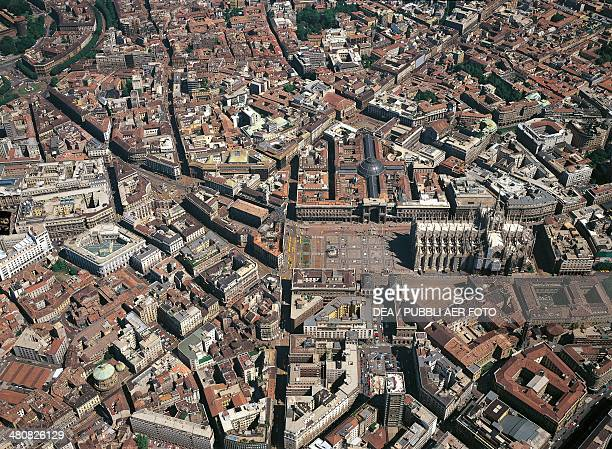 Aerial view of Milan city centre with Piazza Duomo Lombardy Region Italy