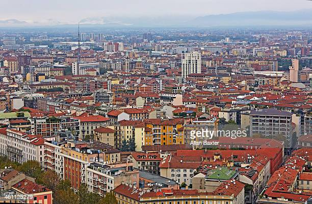 Aerial view of Milan cityscape