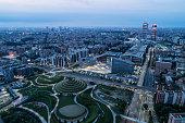 Aerial view of Milan (Italy) at dawn.