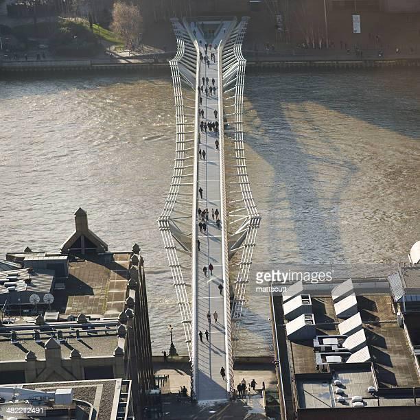 Aerial view of Millennium Bridge, London, England, UK