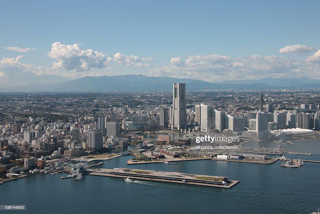 Aerial view of Minatomirai, Yokohama City, Kanagawa Prefecture, Honshu, Japan