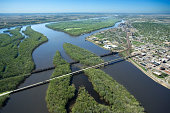 Aerial view of Mississippi River, Iowa