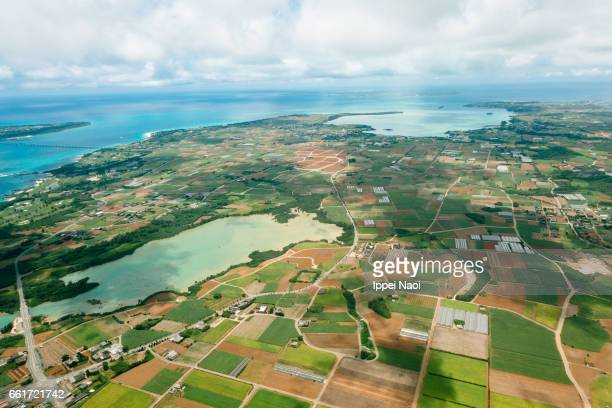 Aerial view of Miyakojima Island, Okinawa, Japan