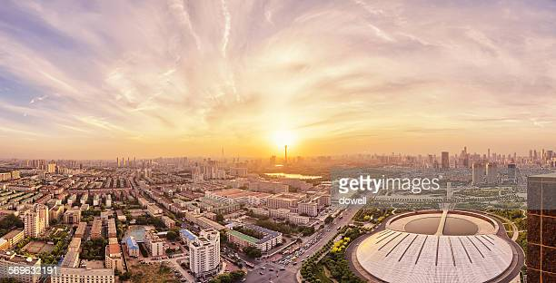 aerial view of modern city with sunset in tianjin