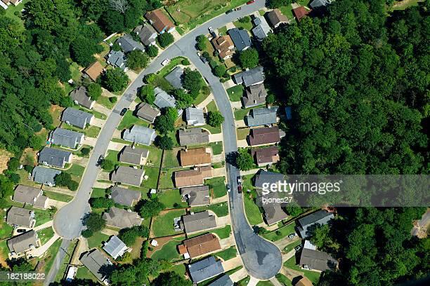 Aerial View of Modern Neighborhood
