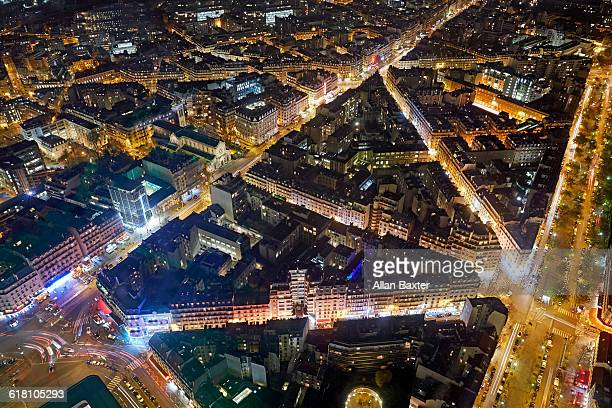 Aerial view of Montparnesse lit at night