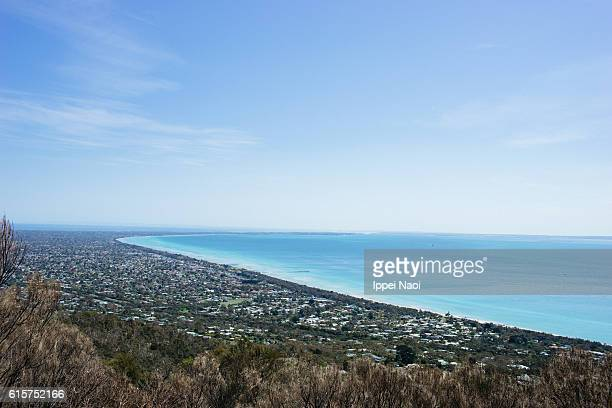 Aerial view of Mornington Peninsula with Port Phillip Bay, Victoria, Australia