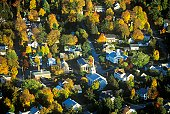 'Aerial view of Morrisville, VT in Autumn on Scenic Route 100 at sunset'