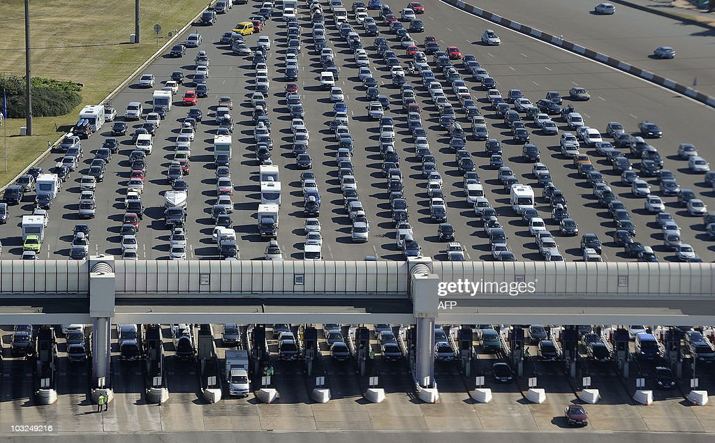 Aerial view of motorists are stranded on a highway on July 31 2010 at the toll station near VillefranchesurSaône eastern France for the fifth weekend...