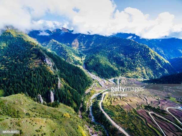 Aerial View of Mountain ranges of Zhagana,Gansu, China