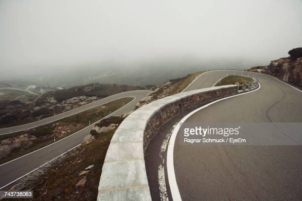 Aerial View Of Mountain Road In Foggy Weather