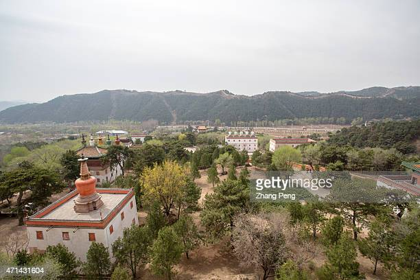 Aerial view of mountains around the Putuo Zongcheng Temple The temple built between 1767 and 1771 is a part of the 'Eight Outer Temples' located in...