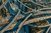 Aerial view of multi lane highways and flyovers, Los Angeles, California, USA