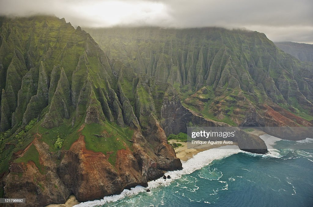 Aerial view of Na Pali Coast, Kauai, Hawaii