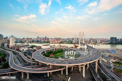 Aerial view of Nanpu Bridge
