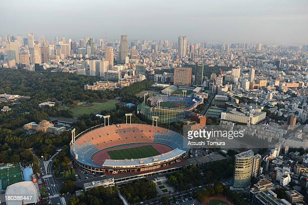 Aerial view of National Olympic Stadium which will host the Opening and closing ceremony Football athletics and Rugby events during the Tokyo 2020...