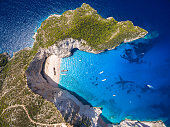 Aerial  view of Navagio beach Shipwreck view in Zakynthos (Zante) island, in GreeceAerial  view of Navagio beach Shipwreck view in Zakynthos (Zante) island, in Greece