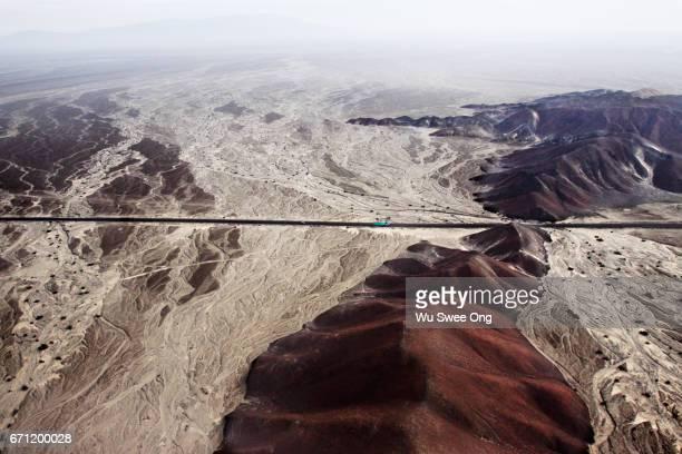 Aerial view of Nazca desert