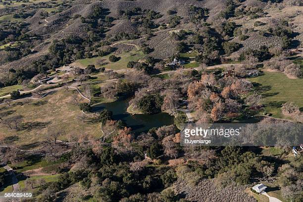Aerial view of Neverland Ranch once the home of famed singer Michael Jackson in the Santa Ynez Valley of Santa Barbara County California