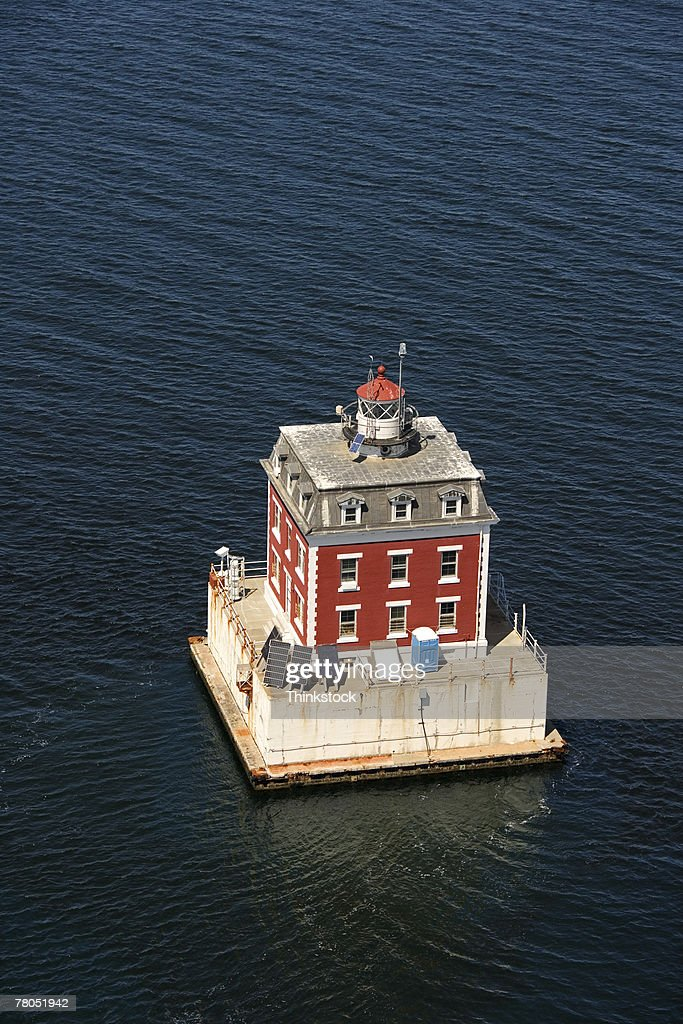 Aerial view of New London Ledge Lighthouse, Groton, Connecticut