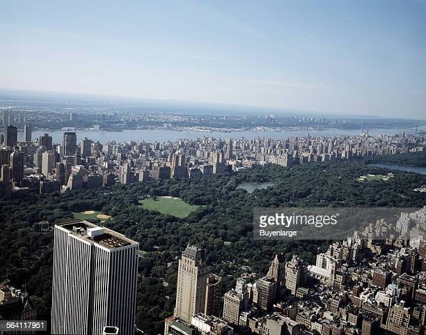 Aerial view of New York City overlooking Central Park