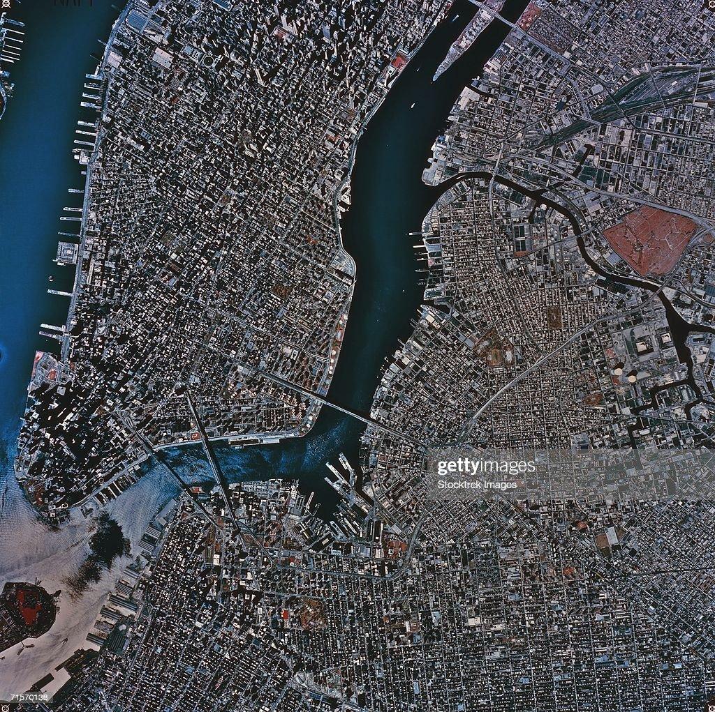 'Aerial View of New York City, satellite image'