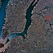 'Aerial View of New York City, satellite image'