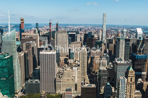 Aerial View Of New York City Usa Manhattan Downtown Skyline And