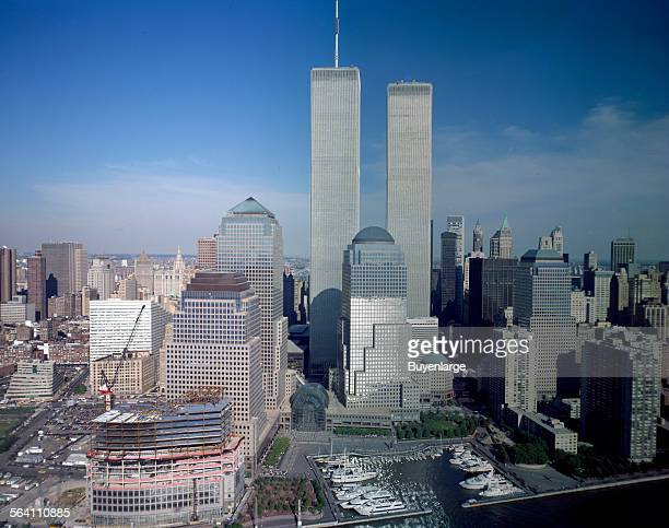 Aerial view of New York City with Twin Towers of the World Trade Center visible