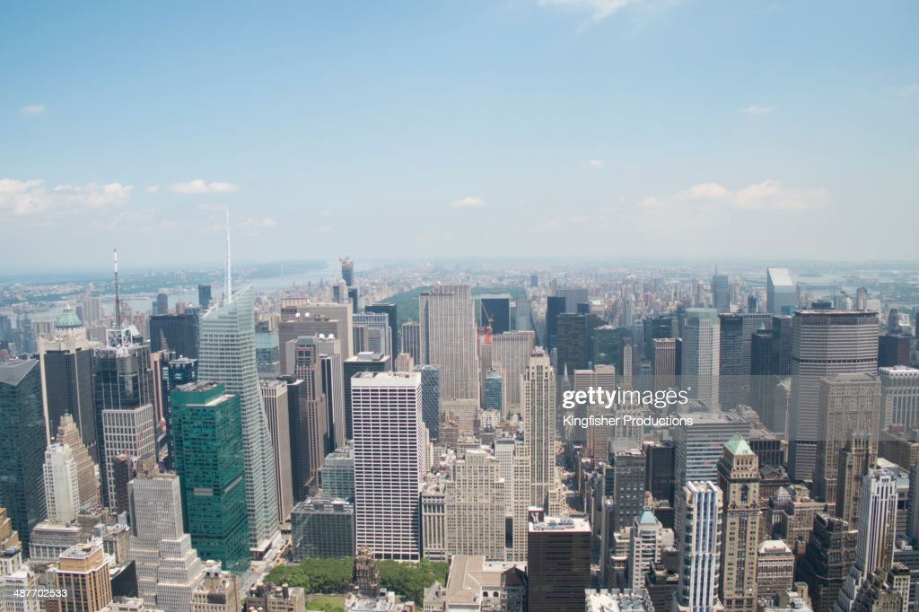 Aerial view of New York cityscape, New York, New York, United States : Stock Photo
