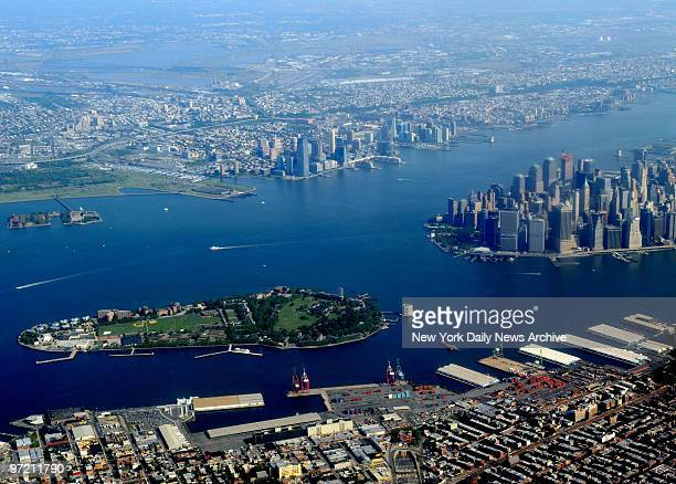 Aerial view of New York Harbor with Governors Island lower Manhattan Red Hook Brooklyn and New Jersey view