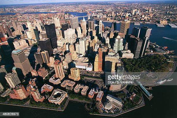 Aerial view of New York Lower Manhattan United States of America