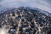 Aerial view of New York Midtown skyline.