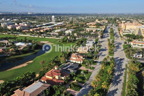 aerial view of nice south florida suburban community stock photo