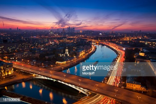 Aerial view of night Moscow