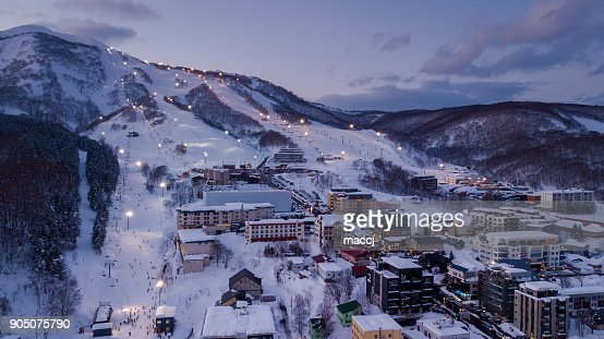 Aerial view of Niseko ski village : Stock Photo