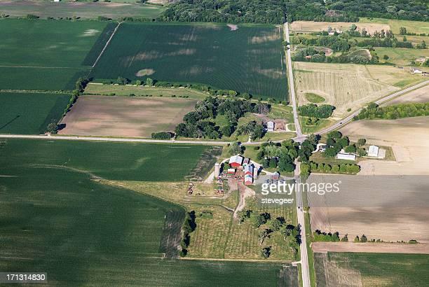 Aerial view of Northern Illinois Farm near DeKalb