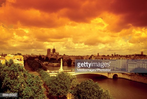 Aerial view of Notre Dame Cathedral, Seine River, Paris, France : Stock Photo