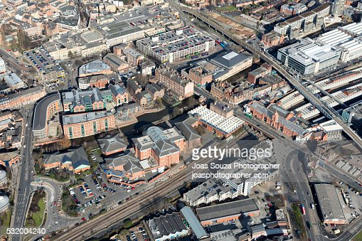 Aerial view of Nottingham City Centre.