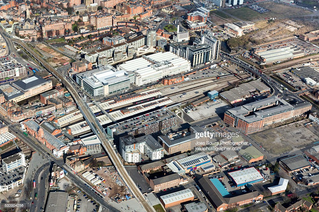 Aerial view of Nottingham Railway Station.