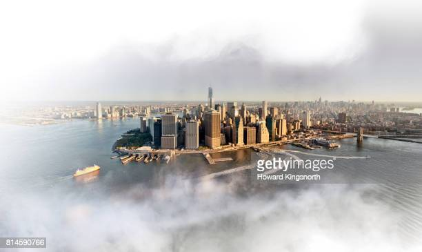 Aerial view of NYC with misty sky