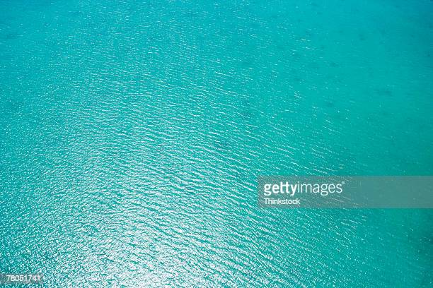 Aerial view of ocean off coast of Florida Keys