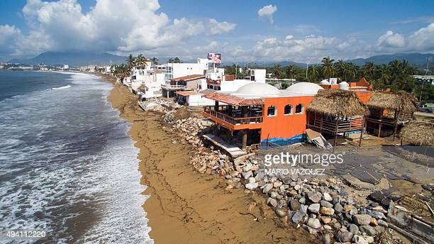 Aerial view of of Manzanillo beach in Colima State Mexico on October 24 2015 after the passage of hurricane Patricia Patricia flattened dozens of...