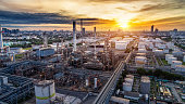 Aerial view of Oil and gas industry - refinery at twilight, Shot from drone of Oil refinery and Petrochemical plant, Bangkok, Thailand