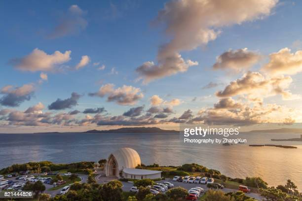Aerial view of Okinawa with church at sunrise, Manza beach,Naha, Okinawa, Japan.