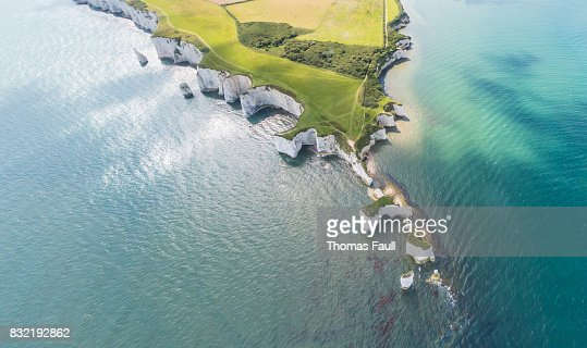 Aerial View of Old Harry Rocks and Purbeck Hills : Stock Photo