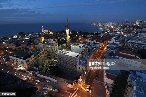 Aerial view of Old Jaffa city at night, Tel Aviv, Israel