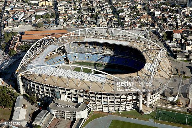 Aerial view of Olympic Stadium with nearly one year to go to the Rio 2016 Olympic Games on July 21 2015 in Rio de Janeiro Brazil The stadium will...