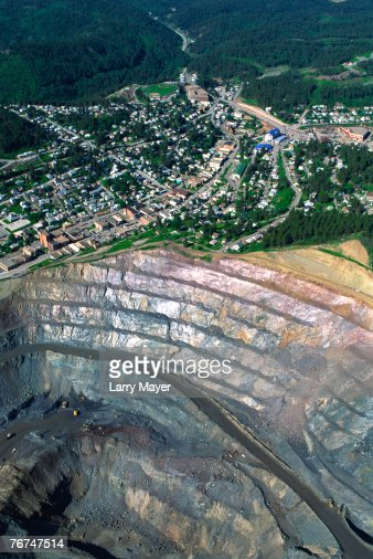 Aerial view of open pit mine